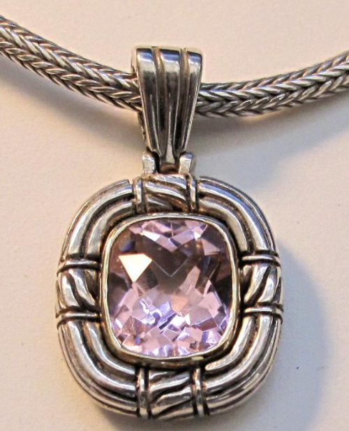Faceted Amethyst Necklace Silver and Gold by Alisa of Tuscany, Italy