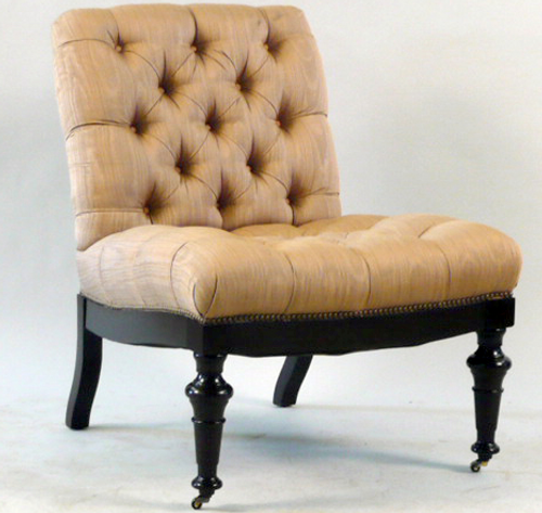 A Pair of Edward Ferrell Limited Upholstered Library Slipper Chairs