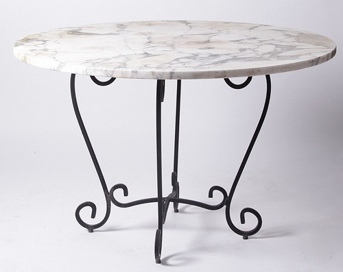 A Beautiful Marble Topped Low Table/ Coffee Table With Scroll Iron Base