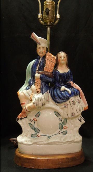 Antique Highland Couple Staffordshire Lamp