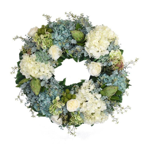*Our Spring  Wreath In Soft Blues, Whites And Tender Greens