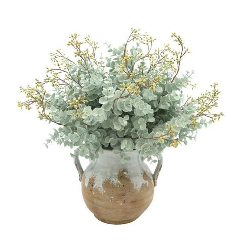 Floral Arrangement Pale Bluey-Green in Clay Vase *