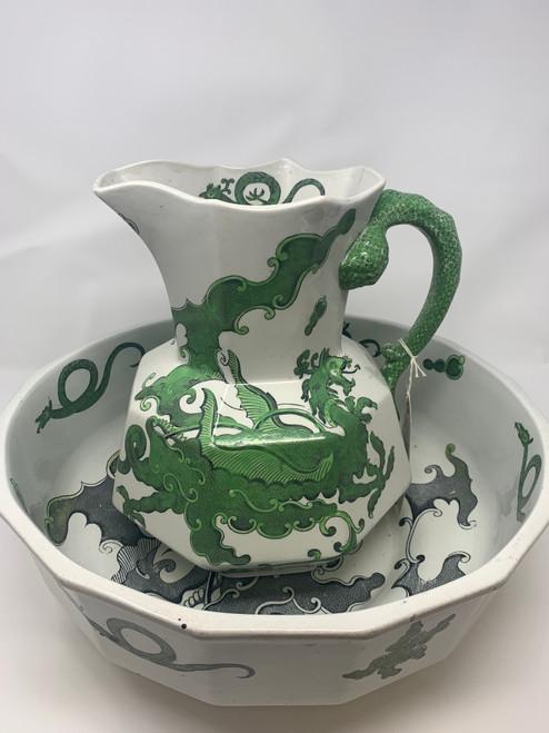 A 19th Century Sea Serpent & Dragon Pitcher & Bowl