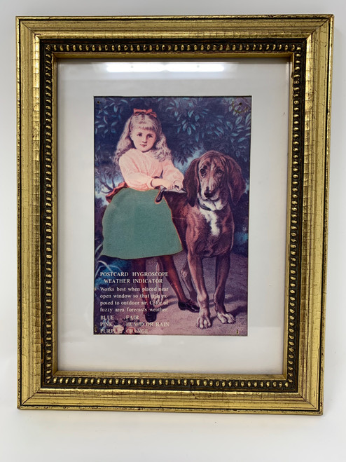 A Hygroscopic Chromolithograph of Girl With Bloodhound *Good Karma!