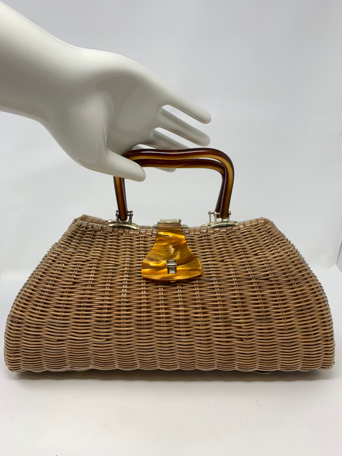Vintage Wicker Bag With Caramel Handle and Latch