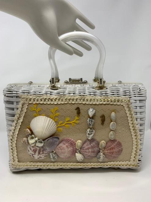 White Wicker Seaside Vignette Vintage Bag