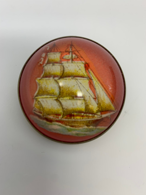 Bridle Pin With Clipper Ship in A Salmon World