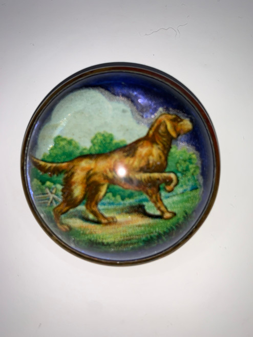 Bridle Horse Pin Beautiful Blue & Green With Pointing Dog