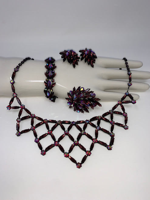AMAZING Regency Vintage Suite of Killer Necklace, Bracelet, Earrings and Brooch