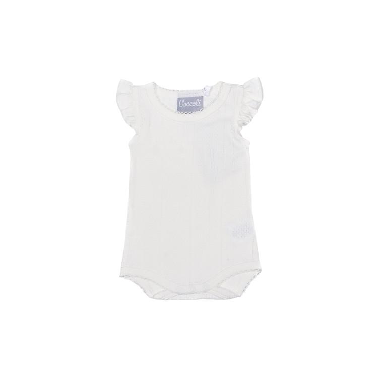 Coccoli Pointelle | Ruffle-Sleeve Bodysuit | 1m-24m | KR4836-800