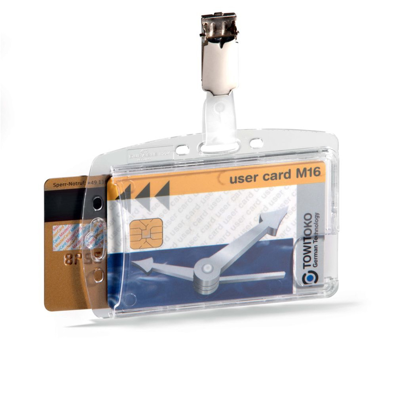 DURABLE ID SECURITY PASS HOLDER ACRYLIC DUO WITH ROTATING CLIP RETAIL PACK
