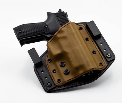 Deep Carry DC-1 in IWB Configuration. Coyote on Black Adjustable for ride height and cant angle. Tuckable.