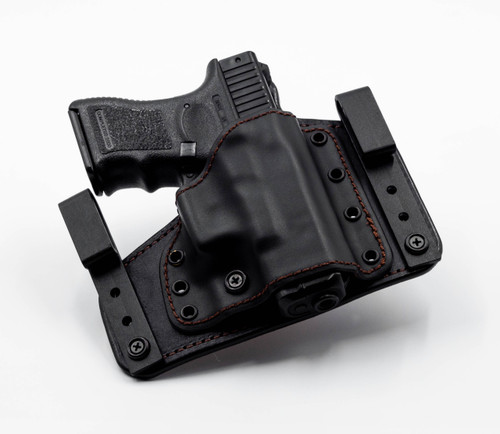 Deep Carry DC-1 in IWB Configuration. Black on Black. Adjustable for ride height and cant angle. Tuckable.