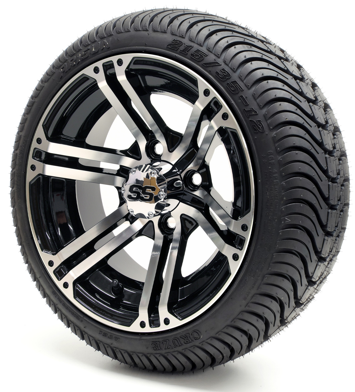 Gtw Specter Machine Black Wheels With Low Protire Options Combo Golf Cart King