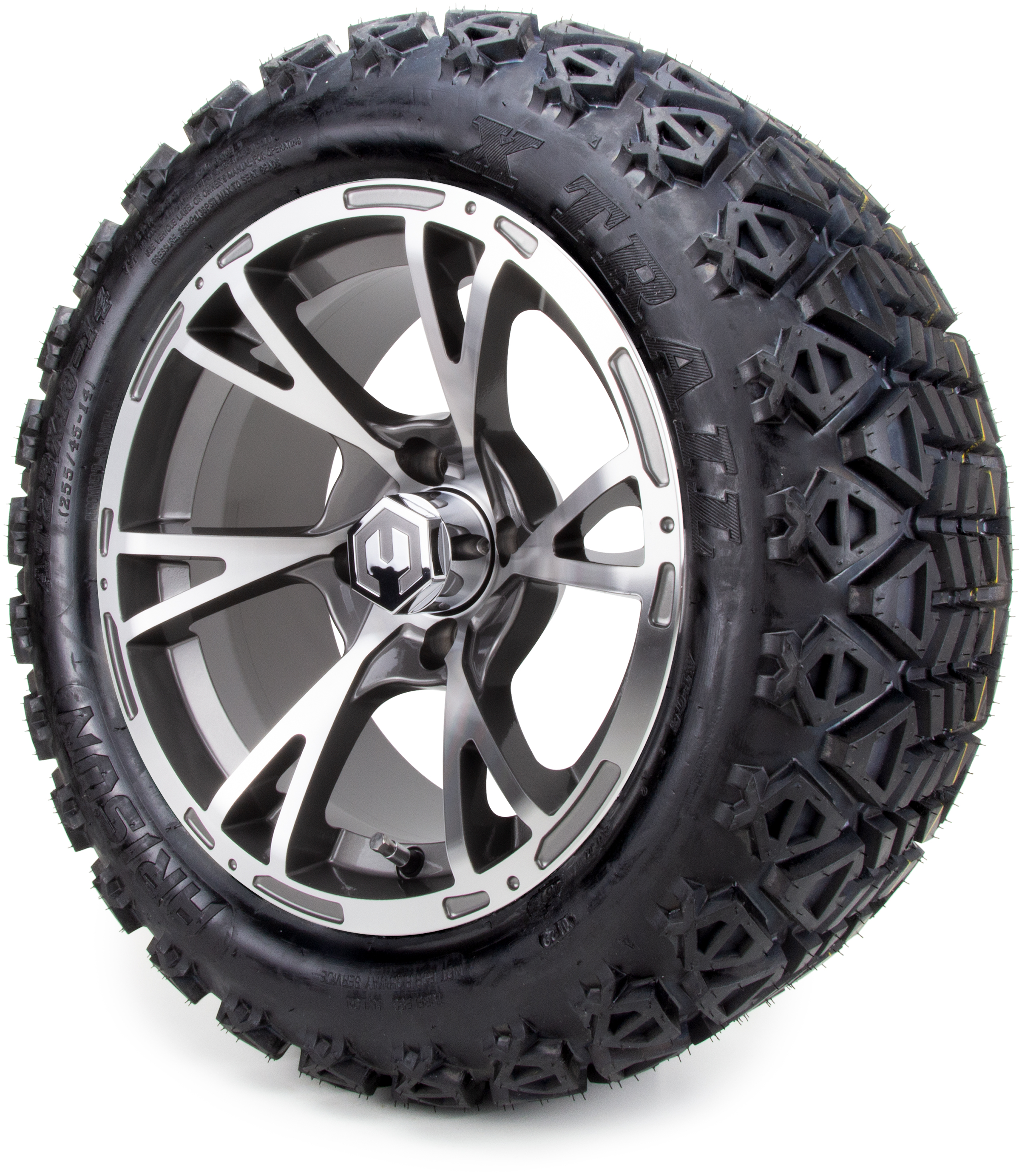 All Terrain Tires >> 14 Modz Avalanche Gunmetal And Black Golf Cart Wheels All Terrain Tires And A 6 Lift Kit Combo