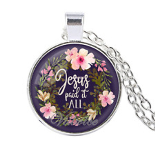 Pendant Necklace - Jesus Paid It All (Silver)