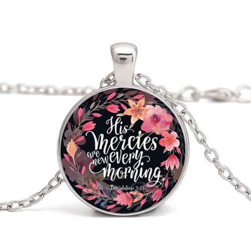 Pendant Necklace - His Mercies Are New Every Morning (Silver)