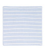 Striped blue/ivory chenille blanket by Angel Dear