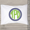 Circle monogrammed personalized pillowcase / pillow
