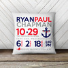 Birth announcement pillow whale with anchor nautical theme custom throw pillow with pillowcase