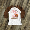 First birthday shirt little turkey 1st (or any) birthday girl personalized raglan Tshirt