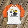 Birthday shirt boy construction excavator personalized raglan Tshirt