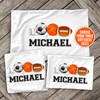 Sports theme with sports balls personalized pillowcase / pillow
