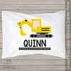 Construction theme with excavator personalized pillowcase / pillow