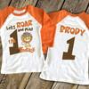 Birthday shirt roarin' cute lion childrens personalized birthday raglan Tshirt