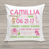 Birth announcement pillow GIRL jungle animals custom throw pillow with pillowcase