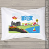 Transportation theme with airplane, train, firetruck, cars, sailboat personalized pillowcase / pillow