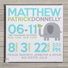 Birth announcement canvas print elephant with birdie custom birth announcement poster