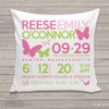 Birth announcement pillow butterfly custom throw pillow with pillowcase