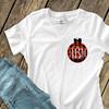 Holiday shirt monogram red buffalo plaid Christmas ornament womens crew neck or v-neck personalized Tshirt