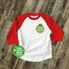 Holiday shirt monogram green Christmas ornament personalized raglan Tshirt