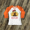 First birthday shirt funny Thanksgiving turkey 1st (or any) birthday boy or girl personalized raglan Tshirt