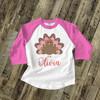 Thanksgiving shirt girl turkey animal print personalized Thanksgiving raglan Tshirt
