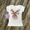 Christmas shirt girl reindeer animal print with Christmas light antlers personalized Christmas Tshirt or bodysuit