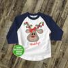 Christmas shirt girl reindeer animal print with Christmas light antlers personalized Christmas raglan Tshirt
