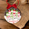 Holiday ornament snowman large family personalized Christmas ornament