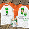 Big sister or big sister to be shirt St. Patrick's Day front/back pregnancy announcement raglan Tshirt