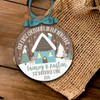 First Christmas new home snow background ornament