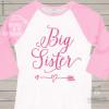 Big sister glitter heart with arrow raglan shirt