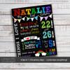 Birthday poster rainbow chalkboard print