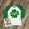 First Birthday St. Patrick's Day sparkly one shamrock raglan shirt
