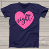 Birthday girl sparkly heart eight or any age DARK shirt