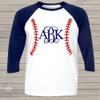 baseball monogram 3/4 length raglan sleeve shirt