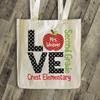 Love school teacher's personalized tote bag