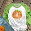 Fall pumpkin vine monogram sparkly glitter ADULT raglan shirt