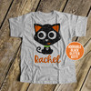 Halloween black cat glitter Tshirt
